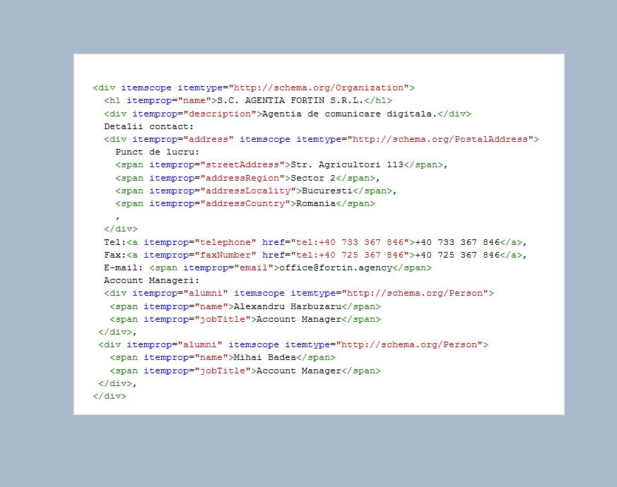 Exemplu Microdata Schema.org